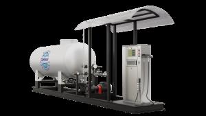 Модульная газозаправочная станция (АГЗС) с насосом тип NZ-36 и одной емкостью 9,2 НС с номинальным объемом 9,2 м³