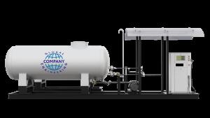 Модульная газозаправочная станция (АГЗС) с насосом тип RT-150 и двумя емкостями 9,2 НС с номинальным объемом 9,2 м³