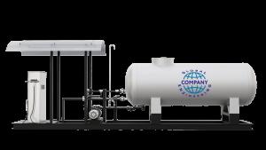Модульная газозаправочная станция (АГЗС) с насосом тип FD-150 и одной емкостью 9,2 НС с номинальным объемом 9,2 м³