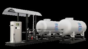 Модульная газозаправочная станция (АГЗС) с насосом тип FD-150 и двумя емкостями 9,2 НС с номинальным объемом 9,2 м³