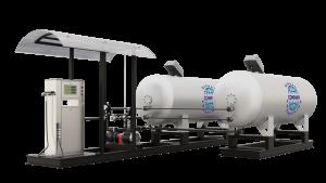Модульная газозаправочная станция (АГЗС) с насосом тип RT-150 и двумя емкостями 6,6 НС с номинальным объемом 6,6 м³
